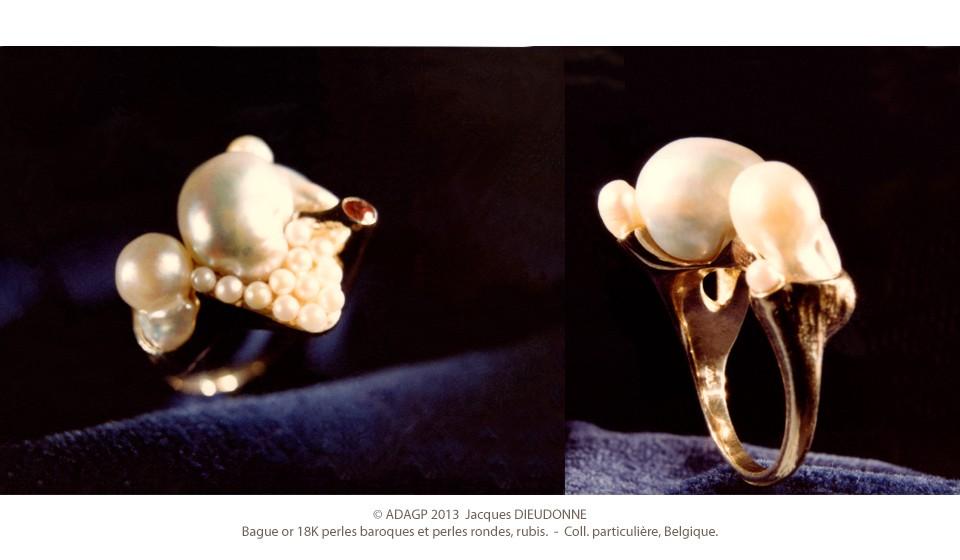 Bague or 18K perles et rubis
