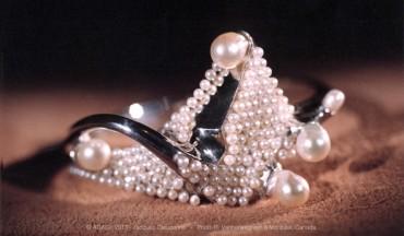 Bracelet sculpture argent et perles